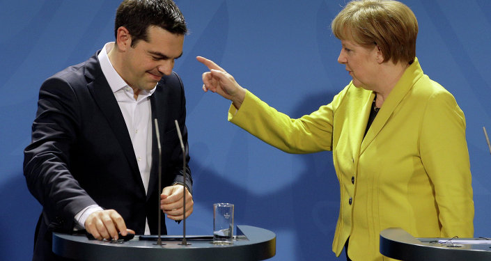 German Chancellor Angela Merkel (right) and the Prime Minister of Greece Alexis Tsipras (left)